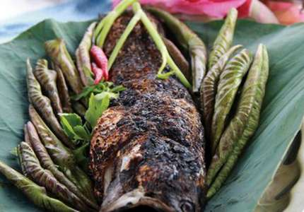 Cá lóc nướng cuốn lá sen non đặc sản Vĩnh Long